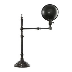 Robert Abbey Lighting - Vintage Style Adjustable Desk / Pharmacy Lamp - 1862 - With a style that replicates antique pharmacy lamps, this design is both fashionable and convenient. The dome-shaped metal shade may direct light downward, for a brighter illumination. The height is 25-3/4 when fully extended, and has the adjustment range needed for a desk or table. This lamp provides convenient task lighting and reflects superior style and quality. Takes (1) 60-watt incandescent A19 bulb(s). Bulb(s) sold separately. Dry location rated.