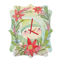 DENY Designs - DENY Designs Cori Dantini Snow Guy Quatrefoil Clock - Tick tock, tick tock. When time feels like it's standing still, check out DENY's Quatrefoil Clock. Paired with the art of your choice, this Quatrefoil Clock is just what you need to make the day go by just a little bit faster.