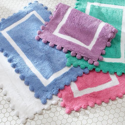 Pom-Pom Bath Mat - Leave it to PBteen to come up with these Pom-Pom Bath Mats. Teens these days get iPhones and rad bath accessories. No fair.