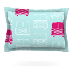 "Kess InHouse - Michelle Drew ""Beep Beep"" Magenta Aqua Pillow Sham (Woven, 30"" x 20"") - Pairing your already chic duvet cover with playful pillow shams is the perfect way to tie your bedroom together. There are endless possibilities to feed your artistic palette with these imaginative pillow shams. It will looks so elegant you won't want ruin the masterpiece you have created when you go to bed. Not only are these pillow shams nice to look at they are also made from a high quality cotton blend. They are so soft that they will elevate your sleep up to level that is beyond Cloud 9. We always print our goods with the highest quality printing process in order to maintain the integrity of the art that you are adeptly displaying. This means that you won't have to worry about your art fading or your sham loosing it's freshness."