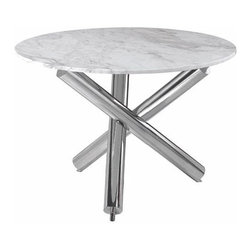 "NUEVO - Victoria Dining Table - Polished stainless steel frame with 3/4"" marble top."