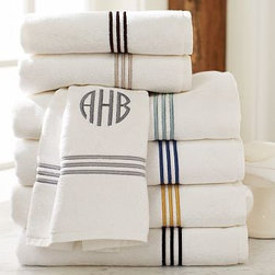 Grand Embroidered Bath Towel, Black - Our plush white towels are loomed in Portugal of long-staple cotton to a dense 700-gram weight.Pure cotton.Detailed with a triple satin-stitched border; washcloth has a single border.Oeko-Tex certified, the world's definitive certification for ecologically safe textiles.See available colors below.Monogramming is available for an additional charge.Machine wash.Catalog / Internet Only.Made in Portugal.