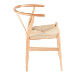 Stilnovo Wishbone Chair , Natural - Inspired by a Hans Wegner design, this Wishbone chair (or Y chair) has a beech hardwood frame with a seat woven from natural papercord.