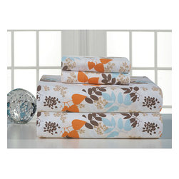 None - Winter Breeze Flannel Sheet Set - You wont mind the cold winter nights once you try this 100 percent cotton flannel sheet set with a leaf pattern in soft shades of brown, orange, and blue. Available in all bed sizes, each set includes a flat and fitted sheet with two pillowcases.