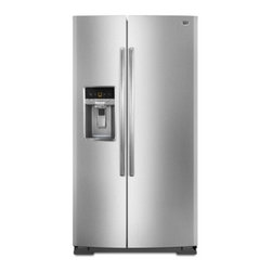 """Maytag - MSB27C2XAM 36"""" 27 cu. ft. Capacity Side-By-Side Refrigerator With Bright White L - Shopping is a breeze when all your groceries are going to fit The 27 cu ft capacity helps ensure everything on your list has a place in the fridge The Store-N-Door Plus system makes enough room so the entire top freezer shelf is free And when you wan..."""