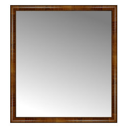"""Posters 2 Prints, LLC - 40"""" x 44"""" Belmont Light Brown Custom Framed Mirror - 40"""" x 44"""" Custom Framed Mirror made by Posters 2 Prints. Standard glass with unrivaled selection of crafted mirror frames.  Protected with category II safety backing to keep glass fragments together should the mirror be accidentally broken.  Safe arrival guaranteed.  Made in the United States of America"""