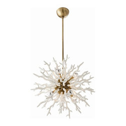 Arteriors - Diallo Chandelier - White - Small - Coral inspired, the 8 light white lacquered resin chandelier is as dramatic as it is unique. The satin gold center sphere gives it just the right amount of bling. Shown with silver bowl globe bulbs. Additional pipe available.  This product is appropriate for an interior or exterior location that is subject to condensation or moisture such as a bathroom, indoor pool, or covered patio. Both sizes take eight 40w bulbs.