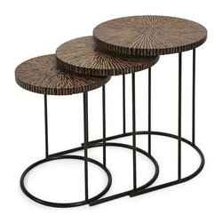 Hoki Coco Shell Tables - Set of 3 - This set of three unique nesting tables feature a tribal influenced pattern made from natural coconut shells and adds a natural appeal to any area. IMAX exclusives!