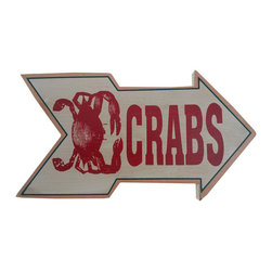 Handcrafted Nautical Decor - Wooden Arrow Crabs Beach Sign 10'' - Feel the cool, crisp ocean breeze blow in off the Atlantic, the tolls of harbor and ship bells ringing out through the misty morning, and enjoy this enchanting nautical themed sign. Short and sweet, the Wooden Arrow Crabs Beach Sign 10'' perfectly accessorizes your home, office, or even your very own vessel. With its beautiful hand painted appearance, express your love for the sea, the freedom of the open ocean, and the timelessly serene ambiance of nautical life. -- ----    Solid wooden  plank--    Handcrafted and highly detailed--    Meticulously painted nautical theme--