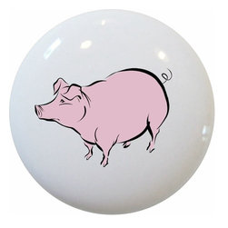 Carolina Hardware and Decor, LLC - Pig Farm Animal Ceramic Knob - New 1 1/2 inch ceramic cabinet, drawer, or furniture knob with mounting hardware included. Also works great in a bathroom or on bi-fold closet doors (may require longer screws). Item can be wiped clean with a soft damp cloth. Great addition and nice finishing touch to any room!