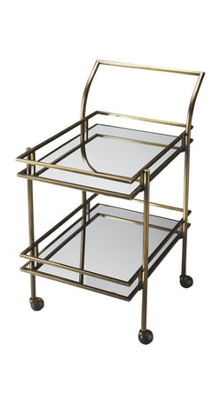 Butler Specialty - Butler Gatsby Antique Brass Bar Cart - Shaken or stirred, this dynamic retro bar cart is certain to be at the center of attention in any space. Forged from a solid steel frame, it features a refined antique brass finish with clear mirrored glass shelves. Four large casters ensure easy mobility from one room to the next, and your guests will be sure to follow.