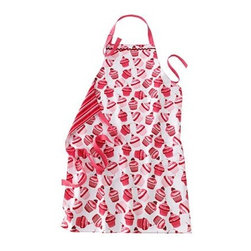 Valentine's Day Cupcake Apron - You're going to be busy as a bee buzzing around serving your guests, so be sure to stay spot free with this Valentine's Day Cupcake Apron. If it's just a party with you and your sweetie, clothing underneath is optional! Hot!