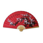 "Oriental-Décor - Prosperity Blossoms - This beautiful hand-painted Chinese wall fan depicts cherry blossoms amid an all-red background, which is symbolic of luck and prosperity in Chinese culture. The cherry blossom is an important flower and symbol in Chinese and Japanese culture. It signifies feminine beauty and is also the symbol of love. The Chinese were the first to create large wall fans. They decorated their Chinese wall fans with various designs, such as flowers, landscapes, people, dragons, phoenixes and nature scenes. Now you too can enjoy the remarkable beauty and elegance of Asian-inspired decor with this authentic large wall fan from China.  Available in 60"" size only."