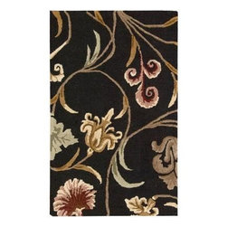 """Nourison - Nourison Area Rug: In Bloom Black 2' 6"""" x 4' - Shop for Flooring at The Home Depot. Make your interiors bloom with this gorgeous collection. Featuring delightful floral designs in vivid hues on a variety of background colors, these rugs are sure to brighten up any interior. A heavy loop pile with cut pile motifs gives this collection a multi-level texture and finish that is a remarkable treat for the senses."""