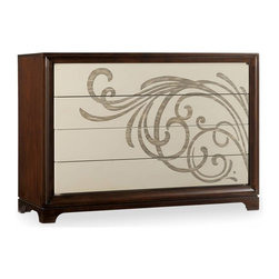 Hooker Furniture - Vassaro Chest - A contemporary motif swirls across the cream colored drawers. A hint of Japanese style adds an exotic flare. You can feel the sea breeze flowing through the window at your beach house, with crisp white towels in the drawers. Maybe, a sleek city dwelling, decorated with a potted orchid in bloom. Imagine the possibilities.