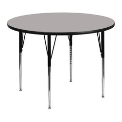 Flash Furniture - Flash Furniture 42 Inch Round Activity Table with 1.25 Inch Laminate Top - Flash Furniture's XU-A42-RND-GY-H-A-GG warp resistant high pressure laminate Round activity table features a 1.25'' top and a high pressure laminate work surface. This Round high Pressure Laminate activity table provides an extremely durable (no mar, no burn, no stain) work surface that is versatile enough for everything from computers to projects or group lessons. Sturdy steel Legs adjust from 21.25'' - 30.25'' high and have a brilliant chrome finish. The 1.25'' thick particle board top also incorporates a protective underside backing sheet to prevent moisture absorption and warping. T-mold edge banding provides a durable and attractive edging enhancement that is certain to withstand the rigors of any classroom environment. Glides prevent wobbling and will keep your work surface level. This model is featured in a beautiful Grey finish that will enhance the beauty of any school setting. [XU-A42-RND-GY-H-A-GG]