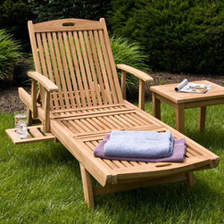 Teak Chaise Lounge Chair - The Teak Chaise Lounge Chair has wheels to easily move to the perfect poolside spot. The slide out tray allows you to keep drinks and sunscreen close at hand.