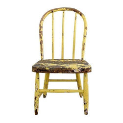 """Used Vintage 1920s Children's Spindle Back Chair - This sunny yellow vintage children's chair is circa 1920s. It has a classic spindle back chair shape with great patina.   Chipped, worn yellow and blue paint, which may be lead based, so please use with caution around very small children.   Small wood piece on top of curved arch splinters out. It is smooth. This is an oldie but a goodie, in sturdy condition.    Measurements:  14.75"""" Depth  13"""" Width  24.5"""" Height  10.5"""" seat height"""