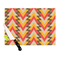 """Kess InHouse - Julia Grifol """"My Triangles in Red"""" Orange Brown Cutting Board (11.5"""" x 15.75"""") - These sturdy tempered glass cutting boards will make everything you chop look like a Dutch painting. Perfect the art of cooking with your KESS InHouse unique art cutting board. Go for patterns or painted, either way this non-skid, dishwasher safe cutting board is perfect for preparing any artistic dinner or serving. Cut, chop, serve or frame, all of these unique cutting boards are gorgeous."""