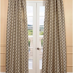 EFF - Davin Grey Faux Silk Jacquard Curtain Panel - These elegant faux silk jacquards are not only gorgeous but fall perfectly to the floor. The sheers feature a classic style and are unmatched in their quality and create a beautiful diffusion of light.