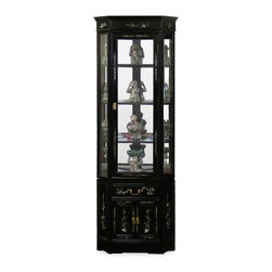 China Furniture and Arts - Rosewood Flower Motif Corner Cabinet - Made of solid rosewood and inlaid with mother-of-pearl flower motif, this slim curio cabinet will exhibit your treasured collectibles with the best effect. Top glass cabinet has flower and bird motif on the crown and a door frame. Three adjustable shelves, mirrored back and halogen lights inside to display collectibles. One drawer and a two-door cabinet with pearl inlay motif at the lower portion. Hand applied with rich black ebony finish. Beveled glass. Display accessories not included.