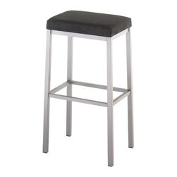 "Amisco - Bradley 26"" Backless Counter Stool - This attractive backless counter stool with a solid square frame will garner lots of attention in your home. Amisco stools can be manufactured in a vast array of metal colors, wood finishes and fabrics at no additional charge. All Amisco products have full length welds on the entire main structure that are warranted for 10 years. Features: -Available in a wide variety of finishes and fabric options. -Seat is 26 inches from the ground. -Nontoxic, environmentally safe baked powder coating for a scratch resistant finish. -Some assembly required. -Clean wrinkle free bends for a very aesthetic finish. -10 Year limited warranty. -Dimensions: 26.875"" Height x 17.5"" Width x 13.5"" Depth."
