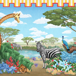 Safari Mural - It's time to go on an African safari! Bright yellow curtains frame this lush oasis in the Sahara. Here you will find zebras, a giraffe, a lioness, a rhinoceros, a monkey and more! This mural comes in two sizes, however, custom sizes can be requested, as well as custom placement of some of the animals to accommodate windows and doors. The artwork is based on an original mural by artist Glennis McClellan.
