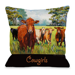 "Graviss Studios - Throw Pillow- Cowgirls - This delightful ""Cowgirls"" 18"" square pillow printed from an original pastel painting created by artist Debbie Graviss. It is made of 100% recycled polyester fabric with faux down filling and includes a hidden zipper."