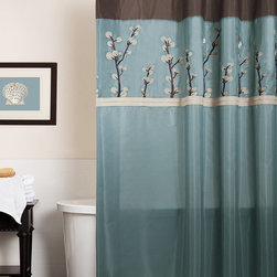 Lush Décor - Blue & Brown Cocoa Flower Shower Curtain - Shower in style with this classy curtain. Showcasing floral embroidery and faux silk fabric, this piece gives the guest bathroom a posh backdrop.   72'' W x 72'' H 100% polyester Dry clean Imported