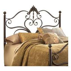 Hillsdale Furniture - Hillsdale Newton Metal Headboard with Rails in Antiqued Brown - King - With a beautiful mix of delicate scrollwork, large ornate castings, and classic ball finials the Newton bed is a symphony of design. An antique brown highlight finish adds depth to feminine grandeur of this bed. While the large Victorian casting draws your eye to the gentle scrollwork of the headboard and footboard, the large ball finials atop the post add classic appeal. Constructed of heavy gauge tubular steel.