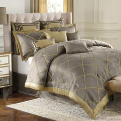 Bombay - Bombay Garrison 4-Piece Comforter Set - The Garrison comforter set by Bombay features an opulent blend of luxurious textures and beautiful details that will transform your bedroom into a sophisticated haven.