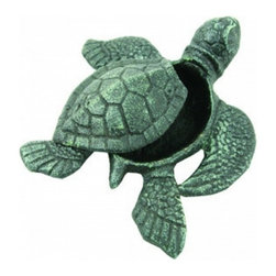 """Handcrafted Model Ships - Seaworn Cast Iron Turtle Hide A Key 5"""" - Nautical Decorating - Let this lovely little turtle keep you from being locked out of your home. She's a darling beach decoration with a special secret. This turtle hide a key stashes a spare key safely out of sight from prying eyes, but is a charming and smart way to hold an emergency house key at reach when you need it. This turtle hide a key is a thoughtful gift idea for any beach enthusiast."""