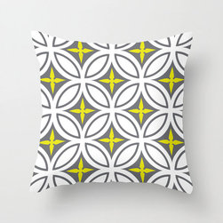 Tangier Tiles Pillow Cover in Yellow - Evoke the riot of design and color that is northern Morocco in this cheery, graphic pillow cover! With a bold pattern in gray with punches of bright color, it's just as good at fitting in as it is at standing out.