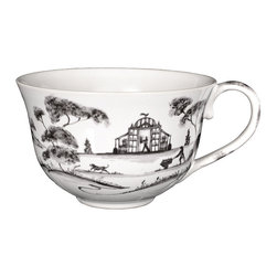 Country Estate Tea/Coffee Cup - Dainty sensibilities and an ample, gracefully-curved shape make the Country Estate Teacup or Coffee Cup in Delft Blue a charming addition to the breakfast nook or sunroom table, where the pretty grace of its painted genre scenes is just as welcome as its steaming contents. A simple handle and a round rim make the blue and white china cup as practical as it is attractive.