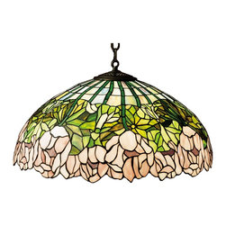 Meyda Tiffany - Meyda Tiffany 31144 Cabbage Rose Pendant Light - A wreath of full blooming passion pink cabbage roses circle this beautiful stained glass shade in a design inspired by the Louis Comfort Tiffany studio. Bronzed green leaves and stems form a pattern against an opal sky in this lovely mahogany bronze finished pendant.