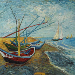 """overstockArt.com - Van Gogh - Fishing Boats on the Beach at Saintes-Maries - 20"""" X 24"""" Oil Painting On Canvas Hand painted oil reproduction of one of the most famous Van Gogh paintings, Fishing Boats on the Beach at Saintes-Maries. The original masterpiece was created in 1888. Today it has been carefully recreated detail-by-detail, color-by-color to near perfection. Why settle for a print when you can add sophistication to your rooms with a beautiful fine gallery reproduction oil painting? Vincent Van Gogh's restless spirit and depressive mental state fired his artistic work with great joy and, sadly, equally great despair. Known as a prolific Post-Impressionist, he produced many paintings that were heavily biographical. This work of art has the same emotions and beauty as the original by Van Gogh. Why not grace your home with this reproduced masterpiece? It is sure to bring many admirers!"""
