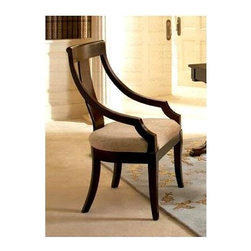 Coaster - Cresta Dining Arm Chair - Traditional style. Elegantly curved high vertical splat back. Sides slope down to form arms. Sleek tapered square legs. Soft fabric covered seat. Made from wood veneers. Rich cherry finish. 24.5 in. W x 23 in. D x 40.75 in. H. WarrantyThis beautiful dining chair will add a touch of sophistication to your semi-formal dining room. This chair will surely complement your transitional home decor.