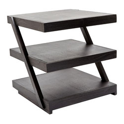 "Lazy Susan - Lazy Susan Stacked Teak Side Table - The Lazy Susan stacked side table's sleek look excites the modern interior. Made from dark brown teak, three shelves offer ample storage supported by angled sides. 20""W x 20""H"