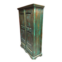 Mogul Interior - India Cabinet Distressed Green Teak Rustic Armoire - A true home decor Armoire from a village just outside of Rajasthan, India.