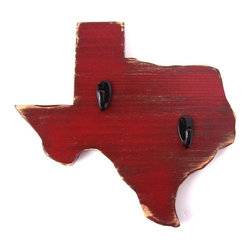 Texas Wood Wall Key Hook - These state hanging hooks are great for a children's room to hang their jackets or dress-up clothes. Or use in kitchen to hang brooms and cleaning supplies.