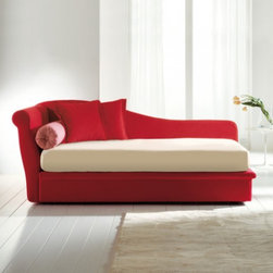 Fata Bed, Red - Here is a great example of how different fabrics on a chaise can totally reinvent the look of the piece. This one is interesting because it is a little bit modern and a little bit traditional in design.