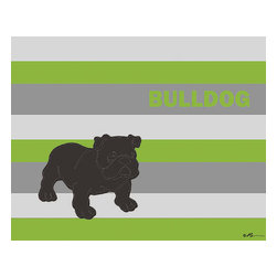 Oh How Cute Kids by Serena Bowman - Mod Bulldog in Green Gray, Ready To Hang Canvas Kid's Wall Decor, 8 X 10 - Each kid is unique in his/her own way, so why shouldn't their wall decor be as well! With our extensive selection of canvas wall art for kids, from princesses to spaceships, from cowboys to traveling girls, we'll help you find that perfect piece for your special one.  Or you can fill the entire room with our imaginative art; every canvas is part of a coordinated series, an easy way to provide a complete and unified look for any room.
