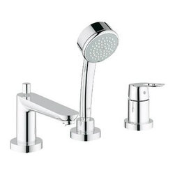 Grohe - Grohe 19592000 Bauloop 3-Hole Single Handle Roman Tub Filler with Personal Hand - Grohe 19592000 Bauloop 3-Hole Single Handle Roman Tub Filler with Personal Hand Shower, StarLight Chrome Designed to enhance the purity of modern architecture, the GROHE BauLoop bath line brings lightness to its surroundings through artfully finished flat surfaces that are perfectly integrated with striking loop-shaped lever handles and a cylindrical faucet body. Featuring the signature GROHE design elements, the collection carries its minimalist design aesthetic over a number of bathroom water draw-off points. Grohe 19592000 Bauloop 3-Hole Single Handle Roman Tub Filler with Personal Hand Shower, StarLight Chrome Features: GROHE SilkMove Ceramic Cartridge Flexible Stainless Steel Braided Hoses Connect All Components and Valves to Supply Single Handle Loop Control 7 Gallons Per Minute in Handshower; 2.5 Gallons Per Minute in Faucet ADA Compliant ASME/ANSI A112.18.1M Code Compliant Grohe