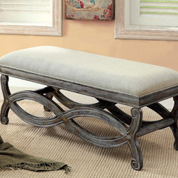 Furniture of America - Furniture of America 'Quazi' Gray Solid Wood Reclaimed Bench - Give your home decor a rustic finishing touch with the Quazi curvy base bench. Made with solid wood,this reclaimed-style bench features a weathered-grey base and comes with a generously padded natural seat cushion.