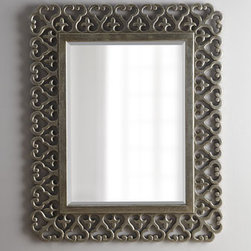"""Horchow - Antiqued Silver-Leaf Mirror - Like diamond jewelry on a woman, mirrors bring glamour to a room. This mirror, with its ornate border of open scrollwork punctuated with fleurs-de-lis, adds lacy texture as well. Resin frame. 30""""W x 46""""T. Imported. Boxed weight, approximately 64 lbs. Please note that this item may require addi"""