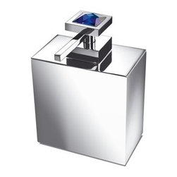 Windisch - Square Brass Soap Dispenser with Blue Strass Swarovski Crystal on Top - Contemporary style square soap dispenser with a blue 100% Strass Swarovski crystal on top. Free standing hand soap dispenser is made out of brass with a polished chrome or gold finish. Made in Spain by Windisch. Blue 100% Strass Swarovski crystal. Brass available in 2 different finishes. Contemporary, modern design. From the Windisch Moon Light Collection.