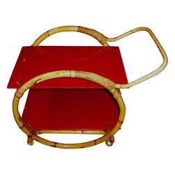 Italian Bamboo Red Glass Tea Cart - Tea for two — or maybe more? This Italian bamboo and red glass tea cart in the manner of Gio Ponti — another design icon — is an unusual design from the midcentury modern period, especially because of the red glass.