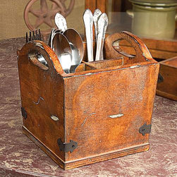 Utensil Carrier - Spoons, knives, and forks—oh, my! This Utensil Carrier makes a grand yet affordable appearance. Made of aged wood with metal detailing, this rustic piece makes a wonderful guest on your next picnic or neighborhood barbecue. Even on the rainy days, it will work hard to fulfill your eating and serving needs.