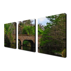 Ready2hangart - Ready2hangart Chris Doherty 'Loxahatchee Bridge' 3-piece Canvas Wall Art - The 'Loxahatchee Bridge' 3-piece canvas art set depicts a stone bridge on lush green country day. This 3-piece canvas art set features a tropical theme and is gallery-wrapped canvas for a contemporary look.