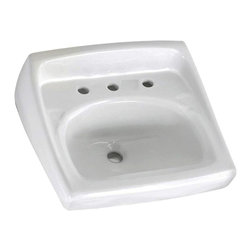 "American Standard - American Standard 0356.028.020 Lucerne Wall-Mount Sink, White - American Standard 0356.028.020 Lucerne Wall-Mount Sink, White. This wall-hung lavatory is constructed of vitreous china, and includes a front overflow, an exposed wall-hanger mounting, a D-shaped bowl, a self-draining deck area with contoured back and side splash shields, and a faucet ledge. This model comes with 8"" centered faucet mounting holes, and it measures 20-1/2"" by 18-1/4"", with a 6-1/2"" bowl depth."